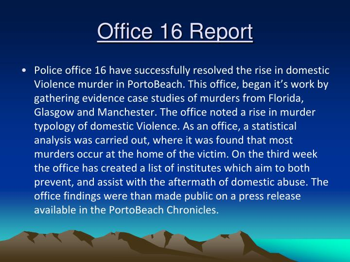 Office 16 report