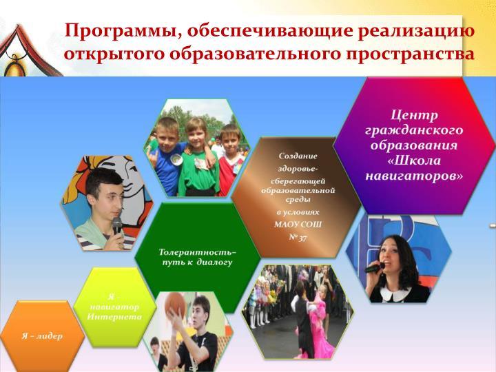 Программы, обеспечивающие реализацию открытого образовательного пространства