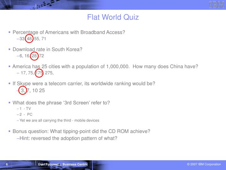 Flat World Quiz