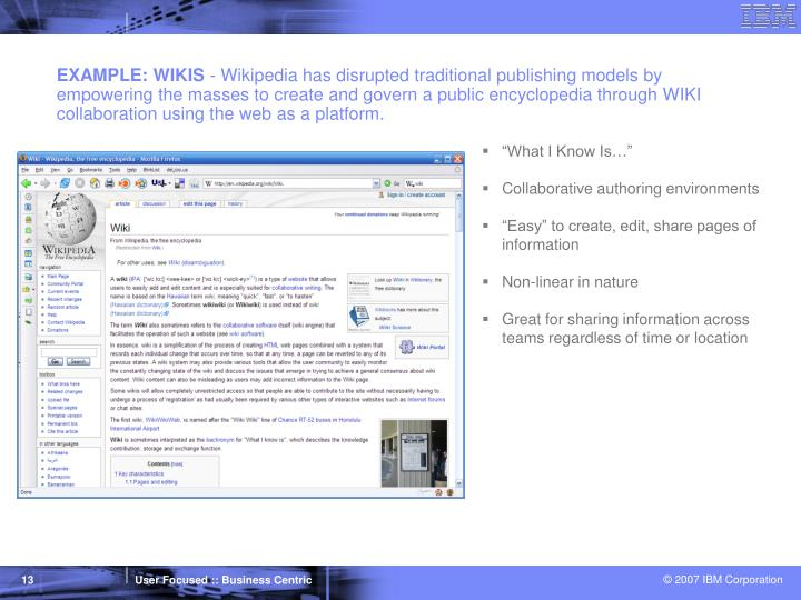 EXAMPLE: WIKIS