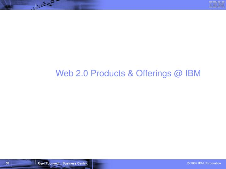 Web 2.0 Products & Offerings @ IBM
