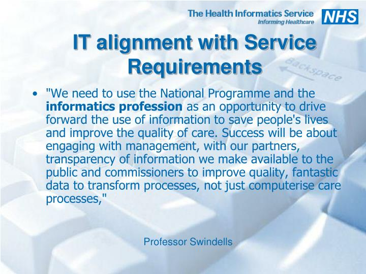 IT alignment with Service Requirements