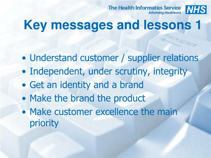 Key messages and lessons 1