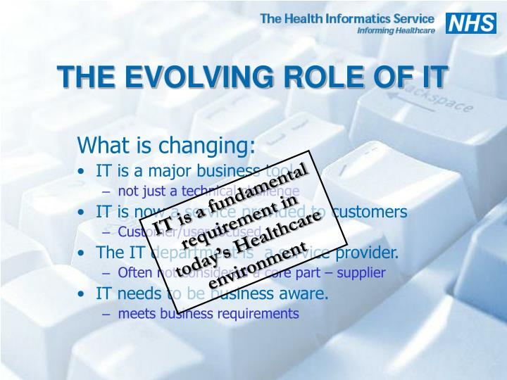 THE EVOLVING ROLE OF IT