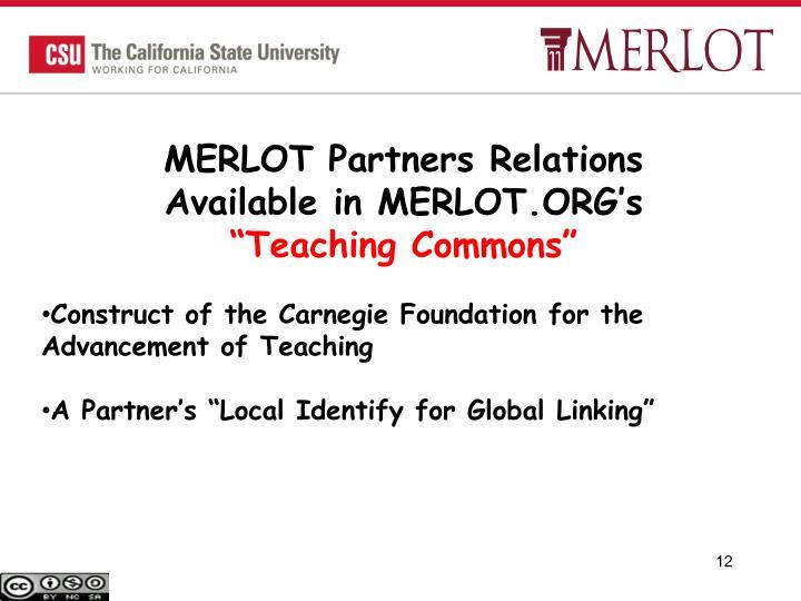 MERLOT Partners Relations