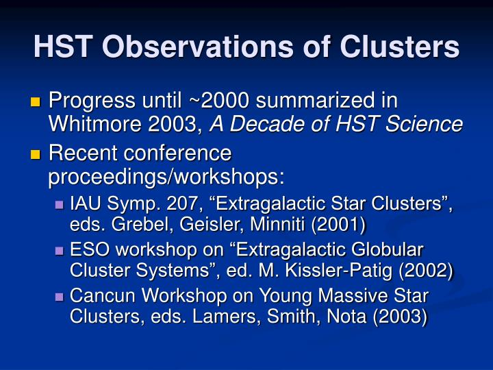 Hst observations of clusters