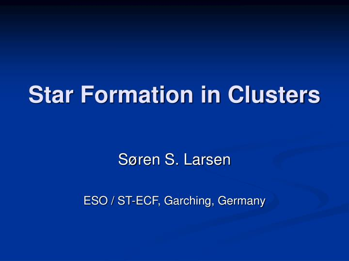 Star formation in clusters
