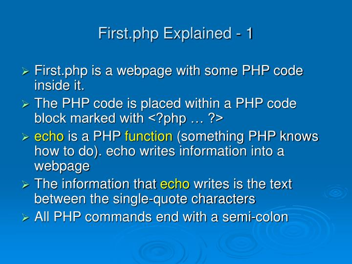 First.php Explained - 1