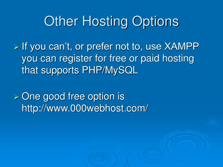 Other Hosting Options