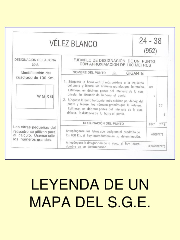LEYENDA DE UN MAPA DEL S.G.E.