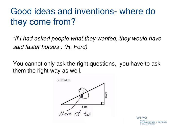 Good ideas and inventions- where do they come from?