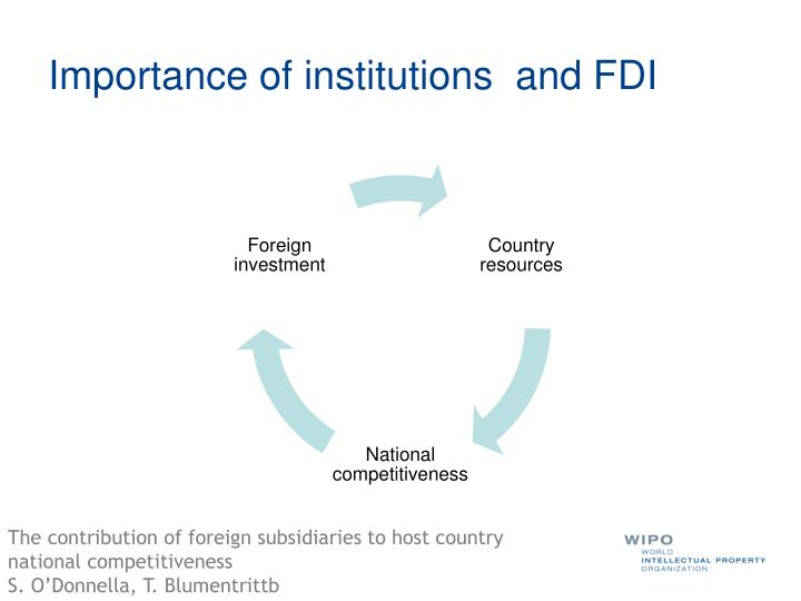 Importance of institutions  and FDI