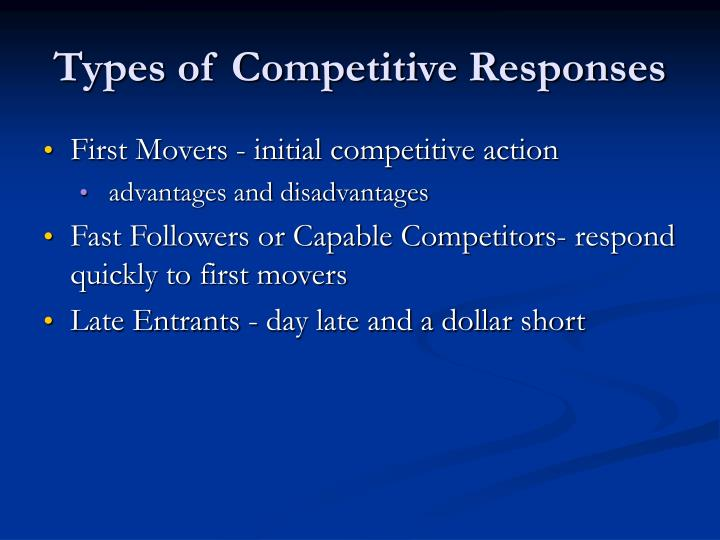 Types of Competitive Responses