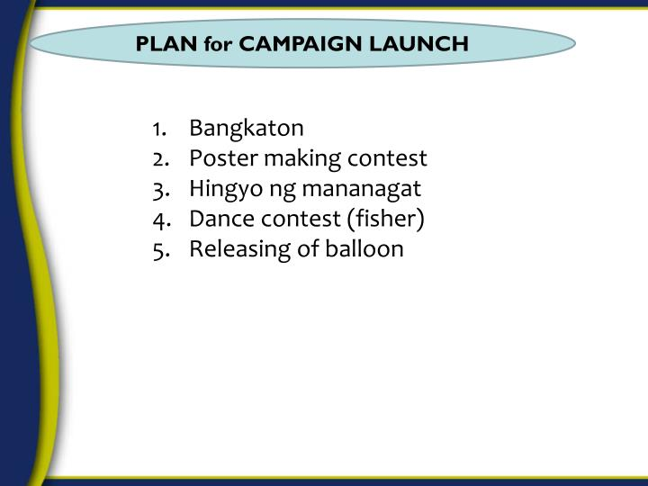 PLAN for CAMPAIGN LAUNCH