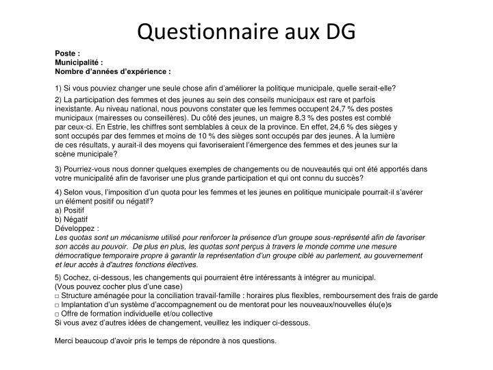 Questionnaire aux DG