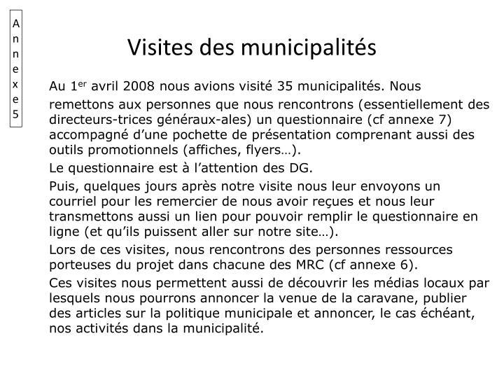 Visites des municipalités