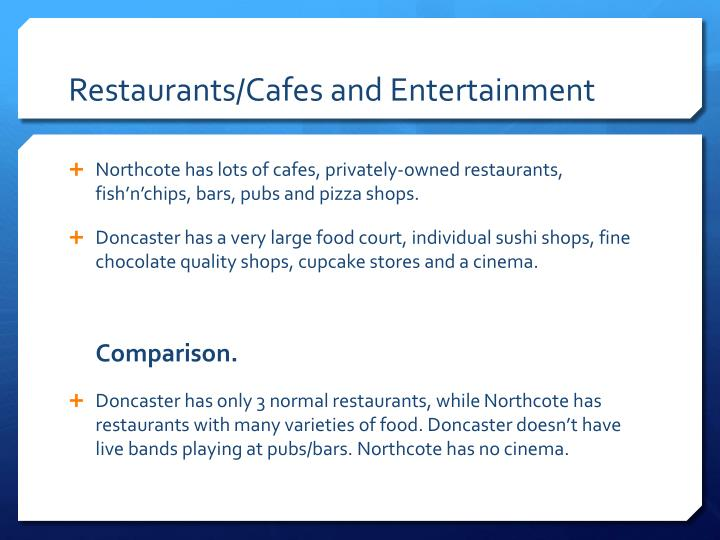 Restaurants cafes and entertainment