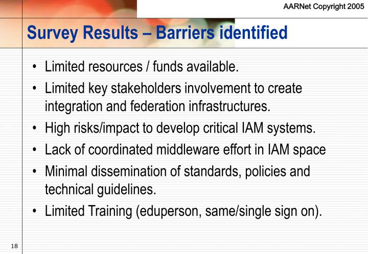 Survey Results – Barriers identified