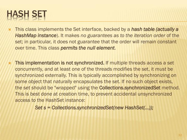 This class implements the Set interface, backed by a