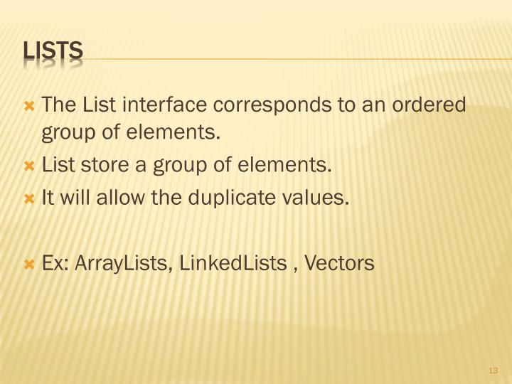 The List interface corresponds to an ordered group of elements.