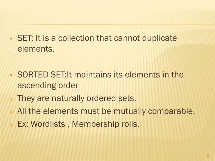 SET: It is a collection that cannot duplicate elements.