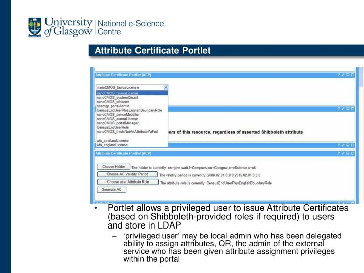 Attribute Certificate Portlet