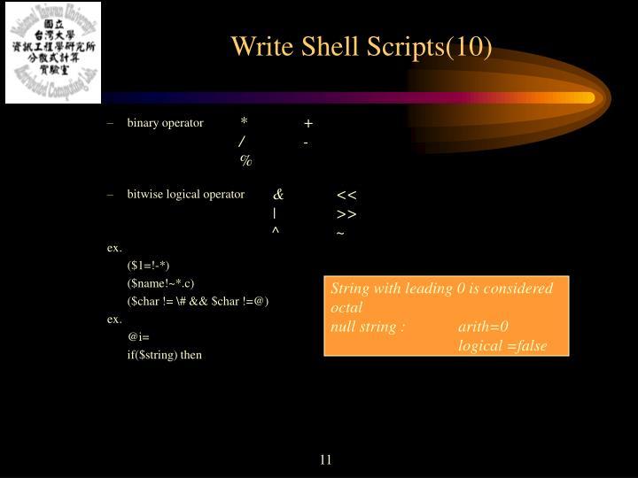 Write Shell Scripts(10)