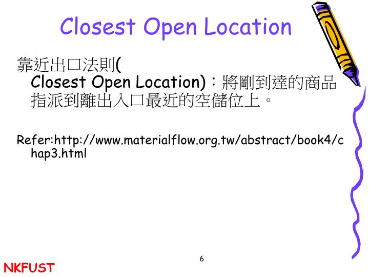 Closest Open Location