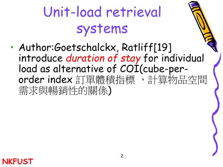 Unit load retrieval systems