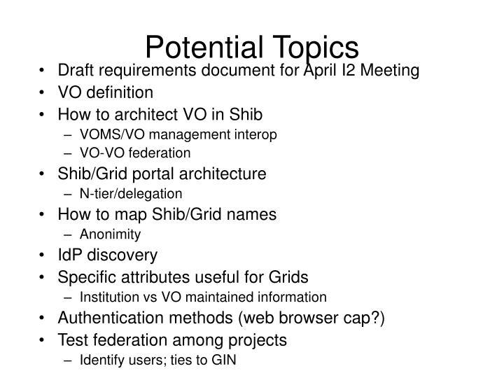 Potential Topics