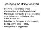 specifying the unit of analysis