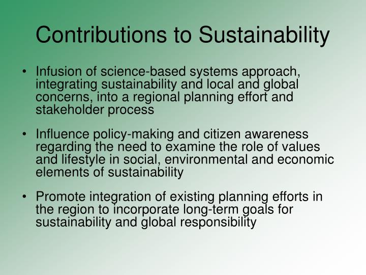 Contributions to Sustainability