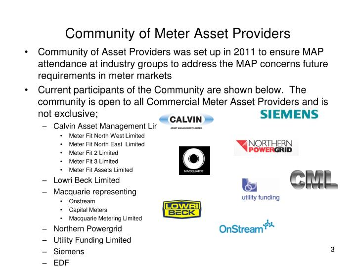 Community of meter asset providers