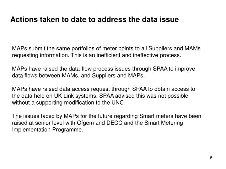 Actions taken to date to address the data issue