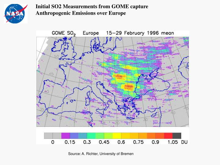 Initial SO2 Measurements from GOME capture