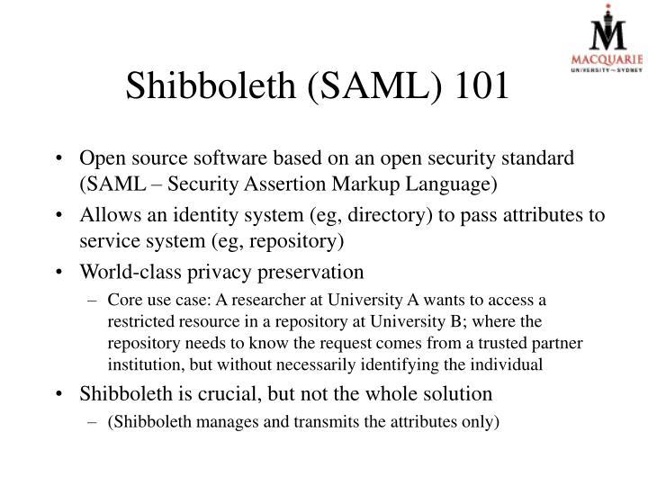 Shibboleth (SAML) 101