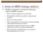 1 issues in mdg strategy analysis