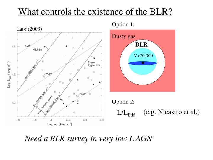 What controls the existence of the BLR?
