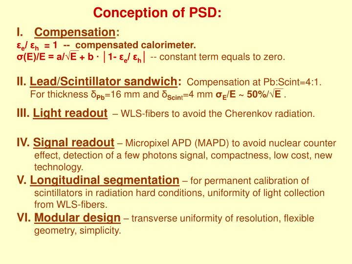 Conception of PSD: