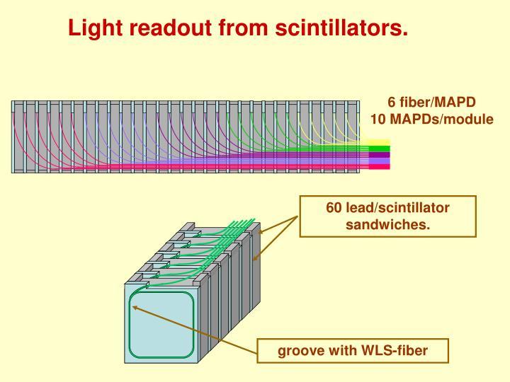 Light readout from scintillators.