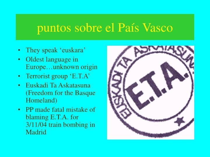 puntos sobre el País Vasco
