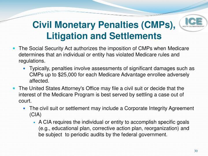 Civil Monetary Penalties (CMPs),