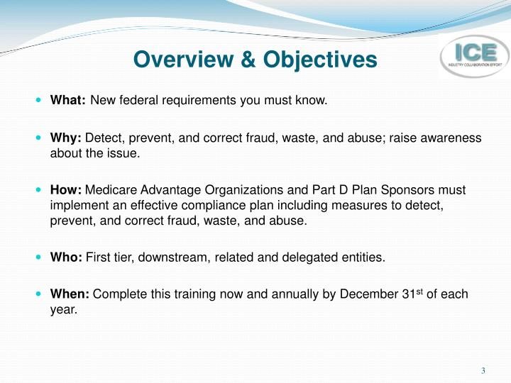 Overview objectives