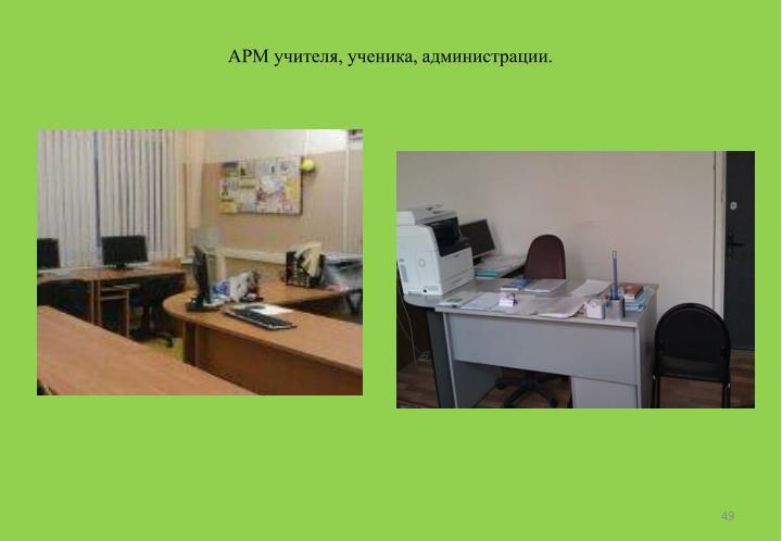 АРМ учителя, ученика, администрации.