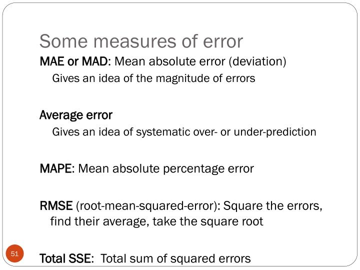 Some measures of error