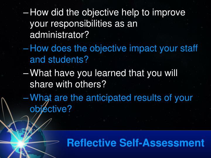 Reflective Self-Assessment