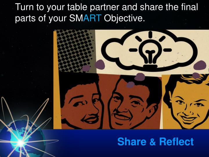 Turn to your table partner and share the final