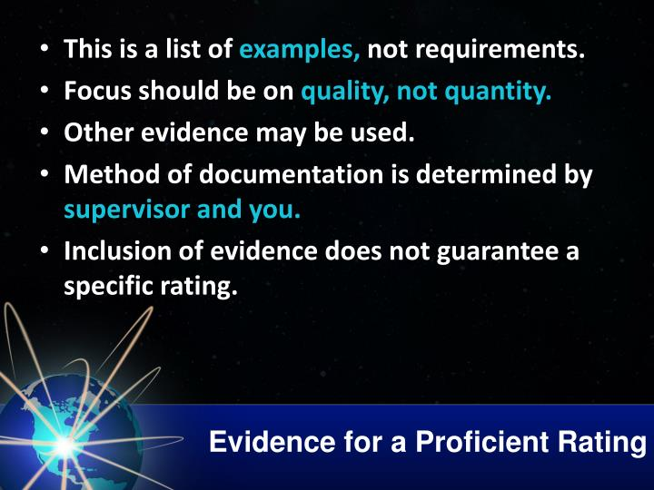 Evidence for a Proficient Rating