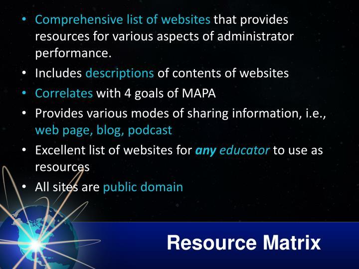 Resource Matrix