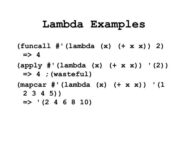 Lambda Examples